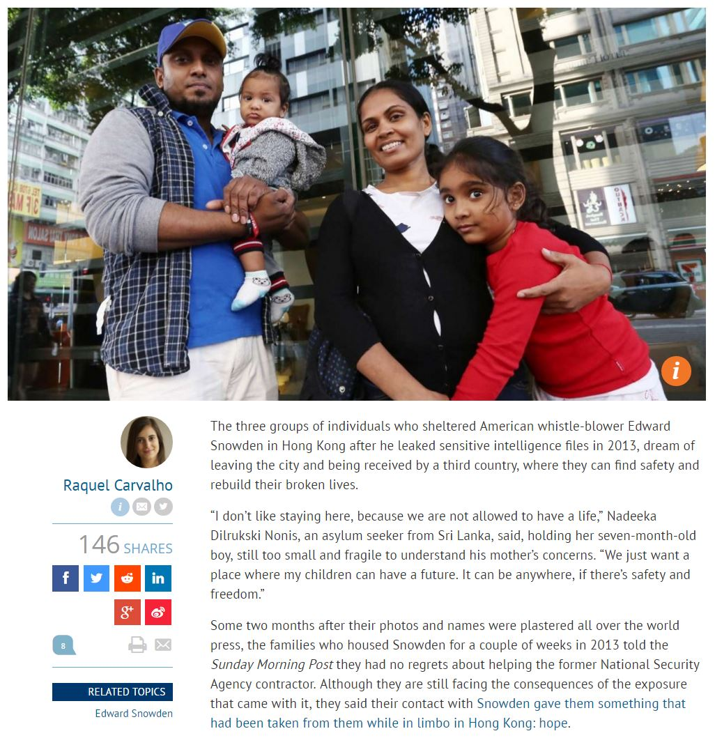 SCMP - Families who sheltered Edward Snowden in Hong Kong say NSA whistleblower 'gave them hope' - 3Dec2016