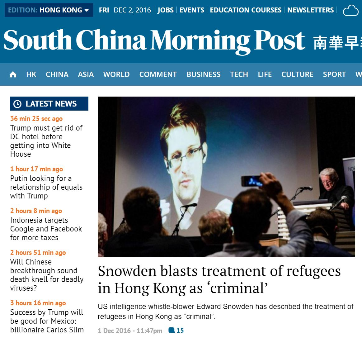 SCMP - Snowden blasts treatment of refugees in Hong Kong as criminal