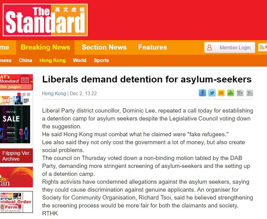Standard - Liberals demand detention of asylum-seekers - 2Dec2016