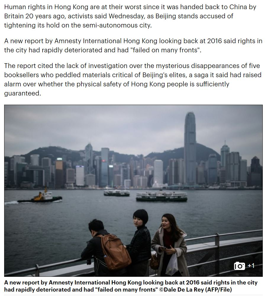 Daily Mail - Human rights in Hong Kong at worst level for 20 years - 12Jan2017