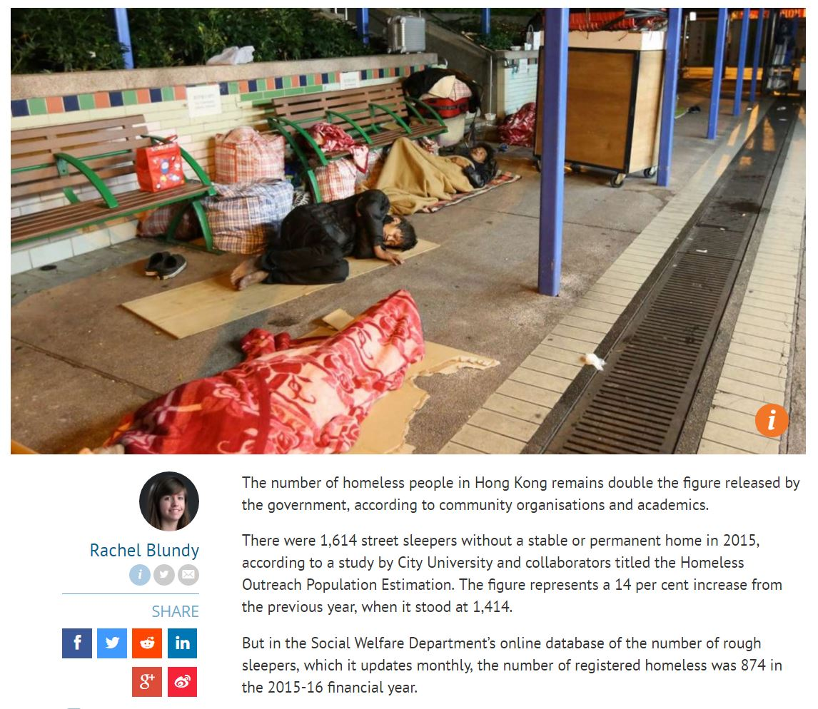 SCMP - Number of rough sleepers in Hong Kong remains double the government estimate - 18Feb2017