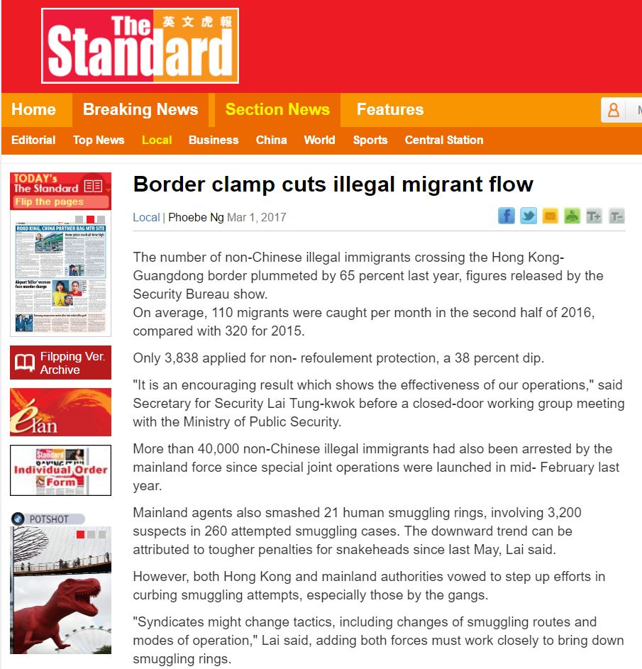 Standard - Border clamp cuts illegal migrant flow - 1Mar2017
