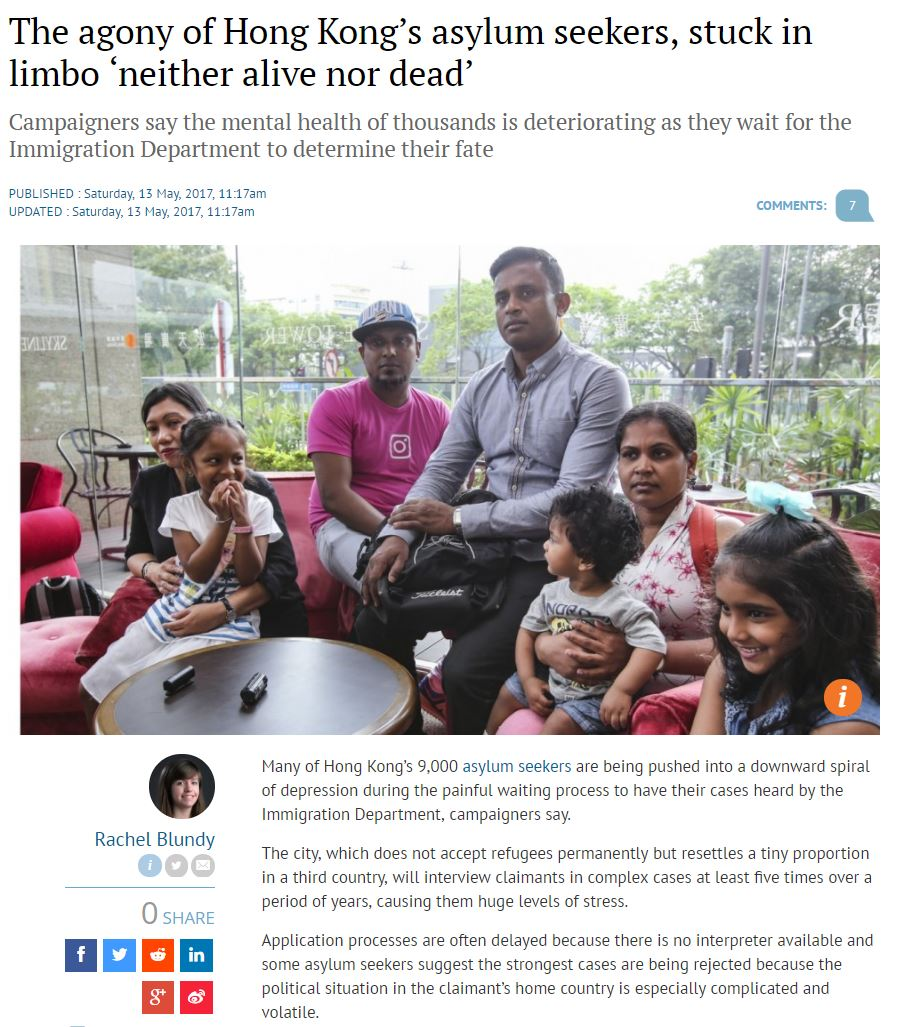 SCMP - The agony of asylum-seekers - 13May2017