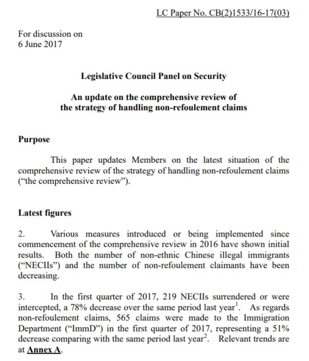 Legco Panel on Security - Update - 6Jun2017