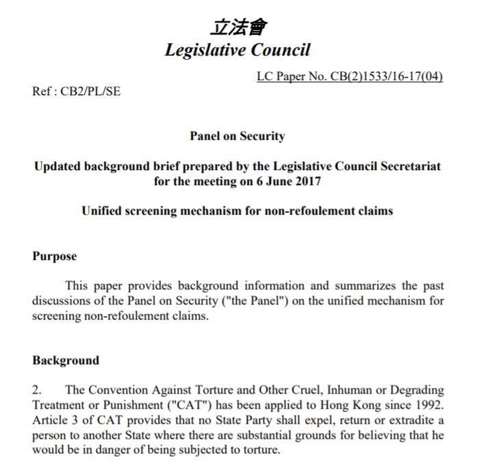 Legislative Council Secretariat - Update - 6Jun2017
